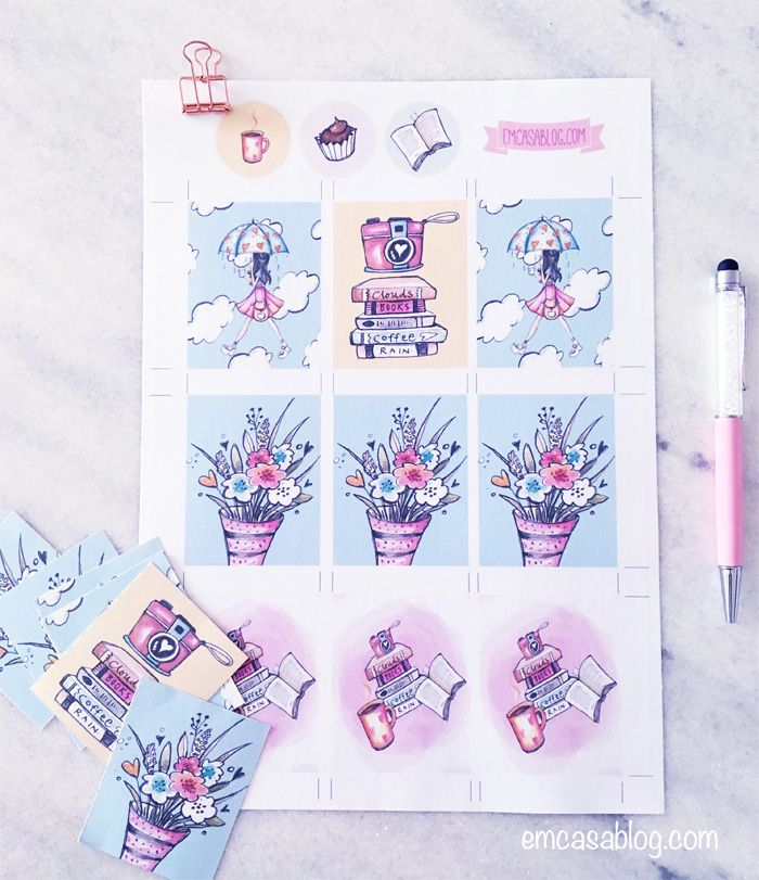 Em Casa Blog: Free Printable Rain Girl Planner Stickers