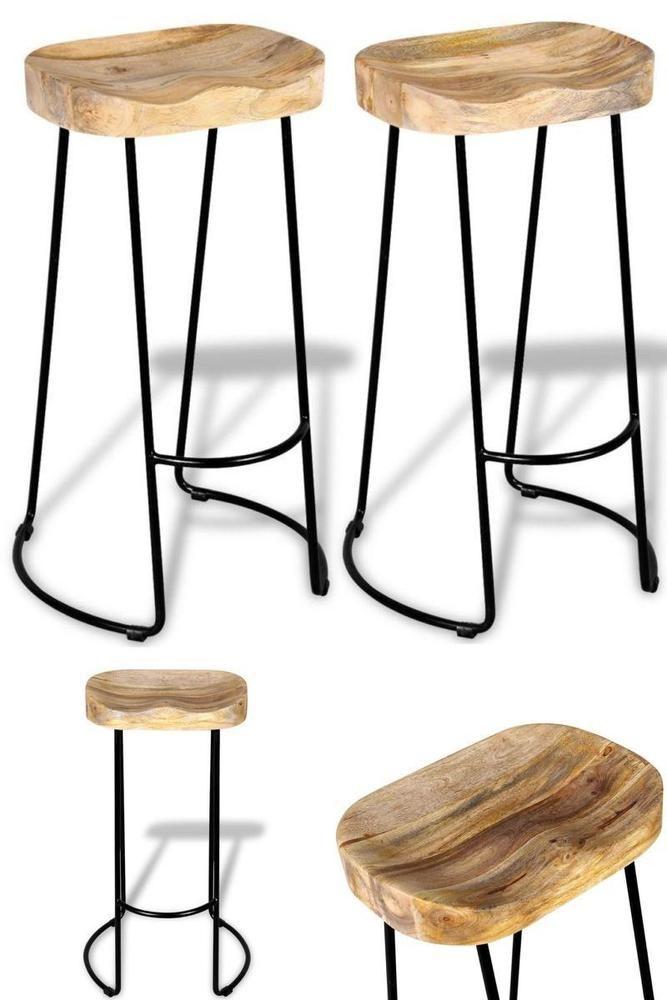Industrial Bar Stools 2Pcs Hotel Home Pub Restaurant Chair Wood Iron Seat Decor