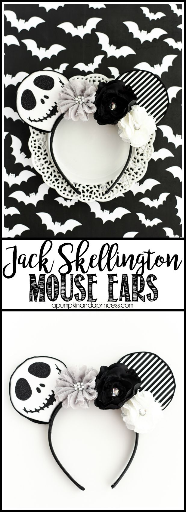 DIY No-Sew Jack Skellington Mouse Ears – easy tutorial and template to make your own mouse ears!