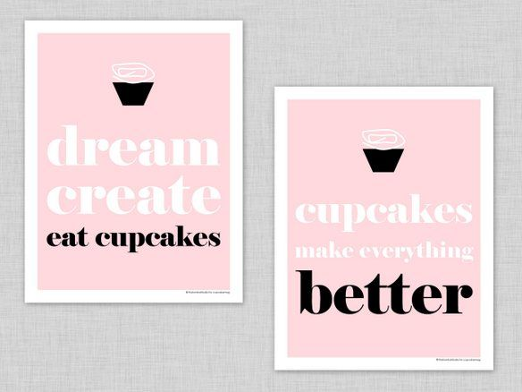 free printable pink cupcake art prints by @The TomKat Studio!