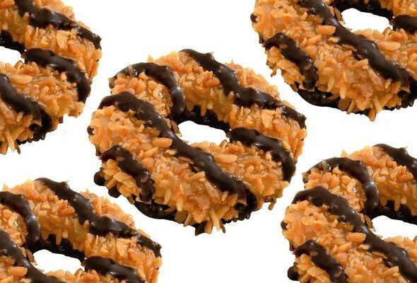 We can't resist a girl in uniform. Homemade Girl Scout Cookies: Samoas