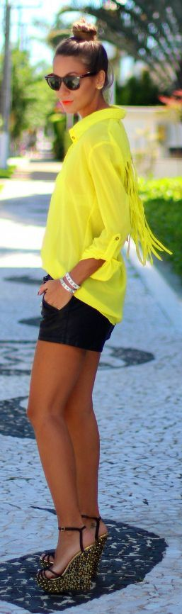 Not the shoes. But love the yellow and black when you are tan