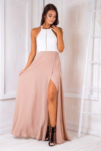 Rosie crepe maxi dress - White/Beige $65