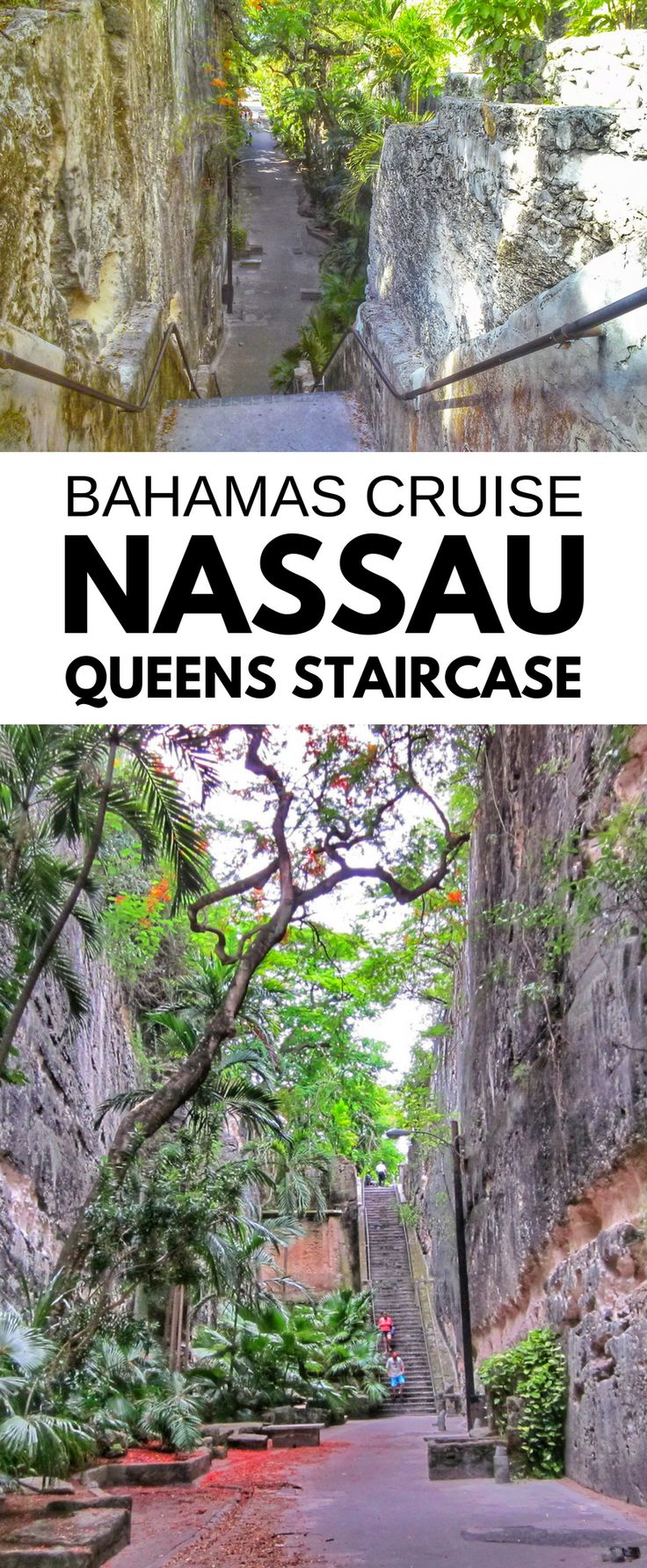 Queens Staircase: Free things to do in Nassau Bahamas. For self-guided excursions in Nassau on Bahamas vacation, cruise tips and ideas near Nassau cruise port! Alternative to Atlantis resort and Paradise Island beach trips, activities for budget-friendly Bahamas cruise. Not far from downtown and can get a little shopping in at mini market stands! Map of Nassau with tourist points of interest. For what to pack for Caribbean cruise, ideas for the cruise packing list. #cruise #cruisetips…