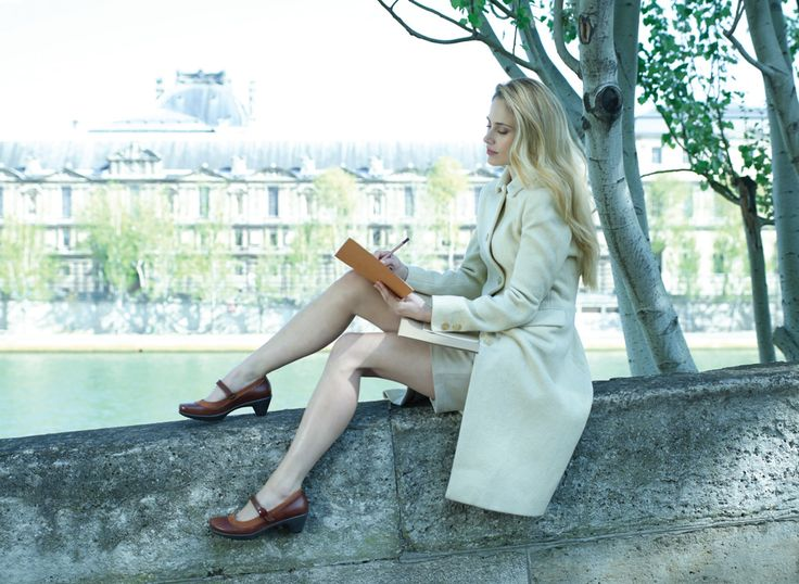 NAOT - LATEST Luggage Brown Combo (Lifestyle Image) #NAOT #footwear #shoes #heels #orthoticfriendly #fashion #comfort #style #study #culture #israel #paris #river