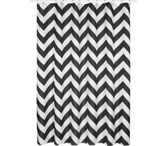 Duschvorhang aus 100% Polyester in Schwarz/Weiß.