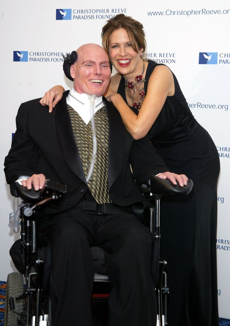 Christopher Reeve and Dana Reeve.  Married 12 years until his death in 2004.: