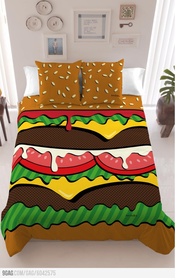 This burger bed looks delicious!