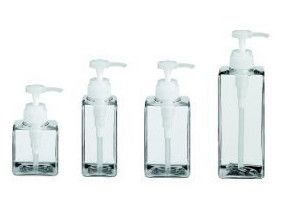 8. Use clear Muji bottle dispensers as an elegant way to store your not-so-pretty beauty products.