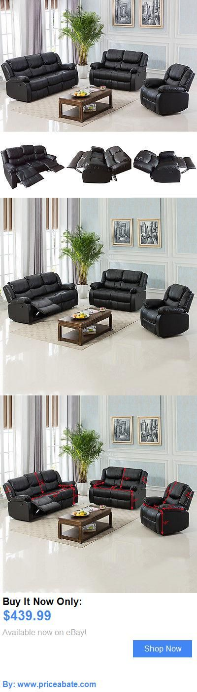 furniture: Black Motion Sofa Loveseat Recliner Living Room Bonded Leather Furniture BUY IT NOW ONLY: $439.99 #priceabatefurniture OR #priceabate