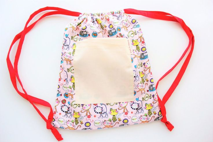 Drawstring Backpack, Cat and Fish, Pink, Great for Girls