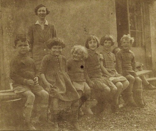 Vanessa Bell's daughter, Angelica (third from right), at school in 1926. Their teacher is Marjorie Strachey, the sister of Lytton Strachey, who was Virginia and Vanessa's good friend and a fellow member of the Bloomsbury group.