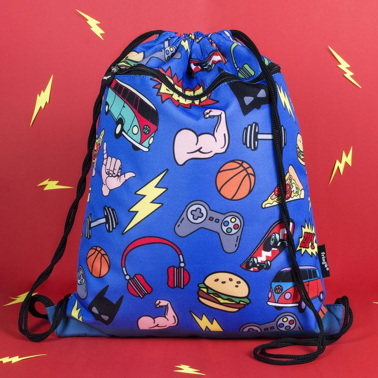 Boys and girls school PE kit bag.Perfect drawstring bag for day to day use at the gym, school or any other outings. Awesome, colourful design with trendy items, such as vans, game console, skateboards, food, etc.  This design is also available as a multi compartment backpack.