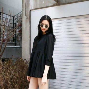 [Black Brunch #Dress] A #blackdress featuring a thin striped pattern. Round neckline. 3/4 sleeves with button cuffs. Back zipper placket. See-through. #stripeddress #stripedress #korean #fashion #koreanmodel #asianfashion #fashiontoany