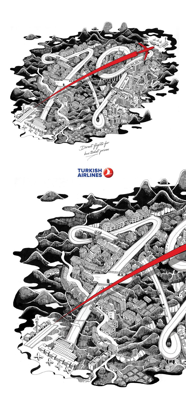 ADS FOR TURKISH AIRLINES AGENCY MULLENLOWE IST COPYWRITER CAN YALCIN  ART DIRECTOR CETIN YILDIZ ILLUSTRATOR NUOMI FROM TAIWAN