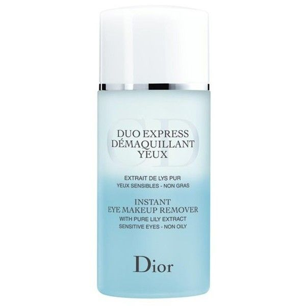 Dior Beauty Duo Express Instant Eye Makeup Remover (1,965 INR) ❤ liked on Polyvore featuring beauty products, skincare, face care, makeup remover, beauty, blue, cleansers & toners, oil free makeup remover, oil free eye makeup remover and eye makeup remover