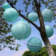7 stks/partij Hemelsblauw Lantaarns Chinese Traditionele Bruiloft Ronde Papieren Lantaarn Party Opknoping Decoratie Gemengde Maten (10 cm-40 cm)(China)