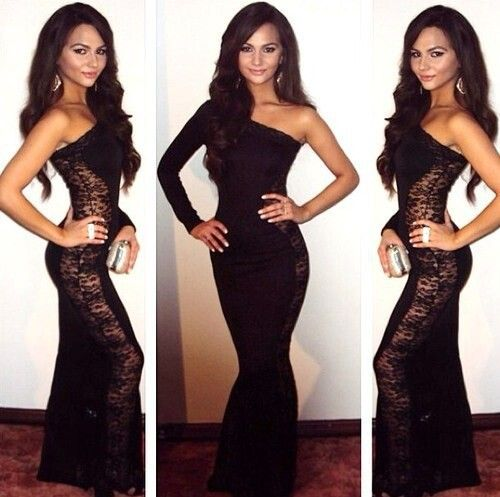 Spandex dress with lace
