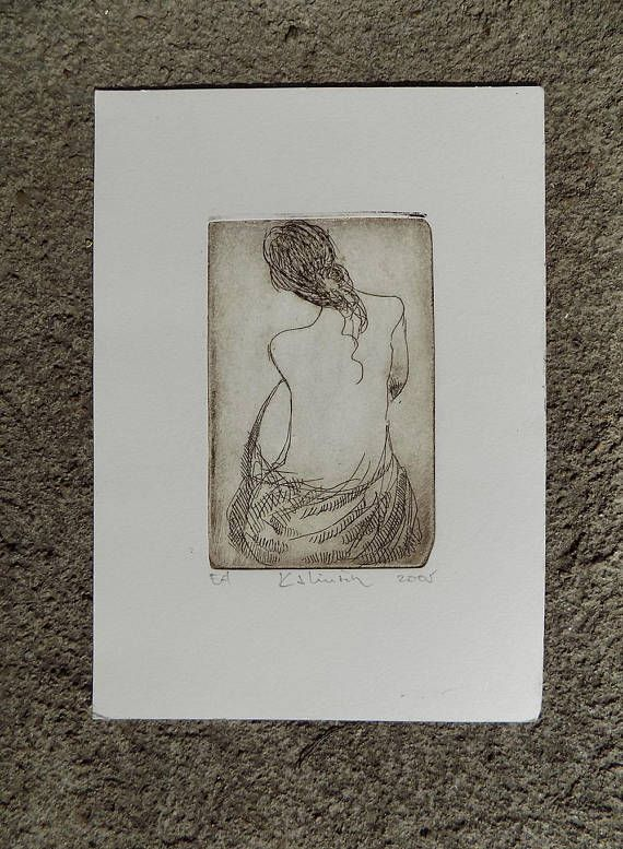 Original etching of a female nude, signed and dated by the artist - Lojze Kalinsek, established artist from Slovenia, 2005, EA - epreuve dartiste, test print.  This small-format print is unique and very delicate&sexy, rendering a naked female back. It can be included in the category of erotic at, but in fact the style and craftsmanship is more relevant than the subject matter.  Typographic ink on heavy printing paper.  Dimensions: print: 10.6 x 7 cm ( inches) paper: 19.5 x 14 cm ( inches)...