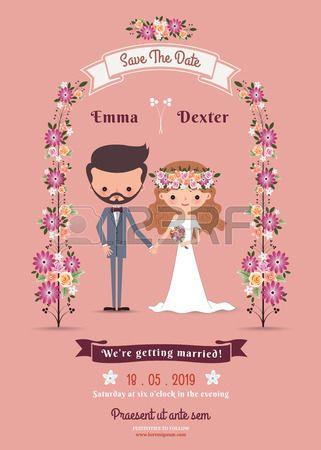 Rustieke bohemien cartoon paar bruiloft kaart op roze achtergrond. Stockfoto - 44222213