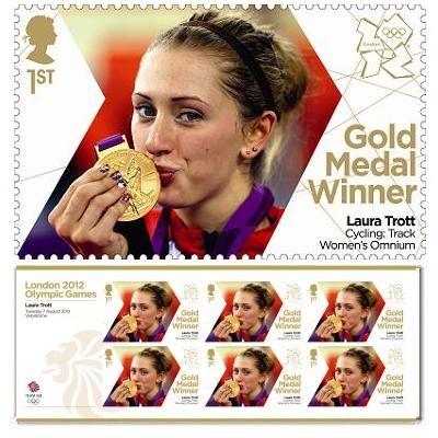 Timbre et carnet pour la médaillé d'or Laura Trott (cyclisme sur piste, Omnium) aux #JO2012 © Royal Mail, DR.