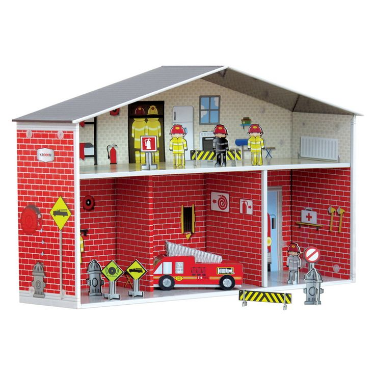 Great activity play with this adorable fire station including fire truck, fire fighters and all other essential elements for a complete fire station playset