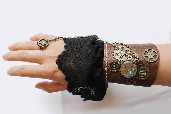 Steampunk laced leather bracer bracelet with ring. With