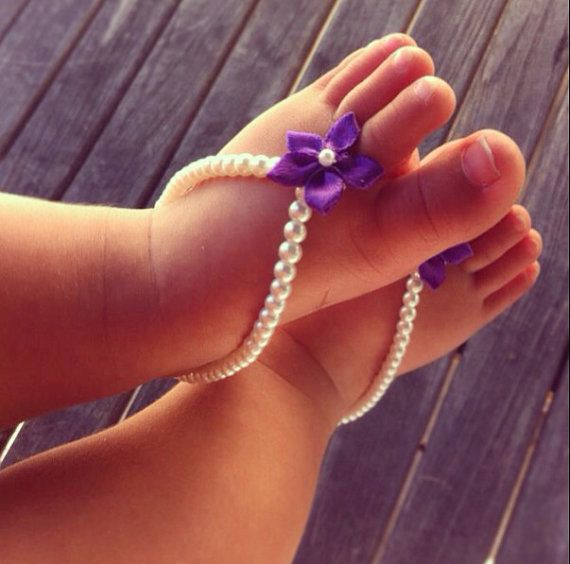 Baby barefoot sandals, flower girl, beach wedding, baby shower gift, purple flower baby sandals, baby shoes, baby girls on Etsy, $19.99