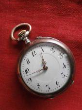 Antiguo reloj suizo de bolsillo en plata mecánico a cuerda manual año 1880 1900