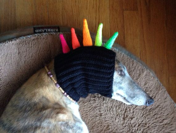 SPIKE MOHAWK Made to Order Snood Hat for Dogs by GreyBabyCrochet, $20.00