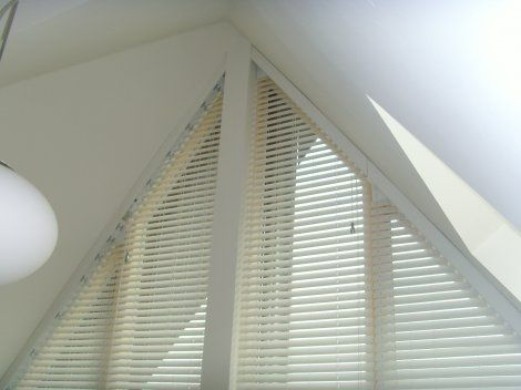 The Cambridge Triangle Shaped Blinds Avanti Blinds And Curtains Preston Blinds Custom Window Blinds Wooden Window Blinds
