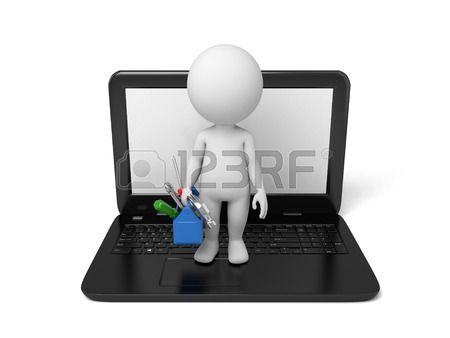 Gente 3d con una caja de herramientas en la computadora port til Imagen en 3D Fondo blanco aislado  Foto de archivo