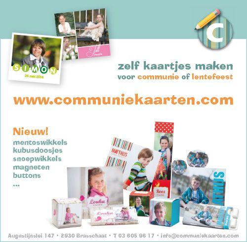 communiekaartjes online zelf maken. Ook leuke ideeën voor communie bedankjes!