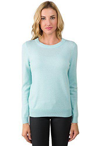 JENNIE LIU Women's 100% Pure Cashmere Long Sleeve Crew Neck Sweater