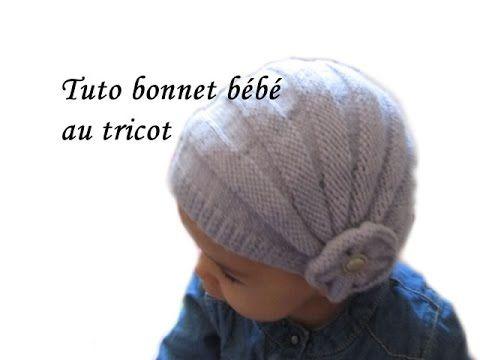 TUTO BONNET BEBE STYLE CHARLESTON POINT DE GODRON ET FLEURS AU TRICOT FA...