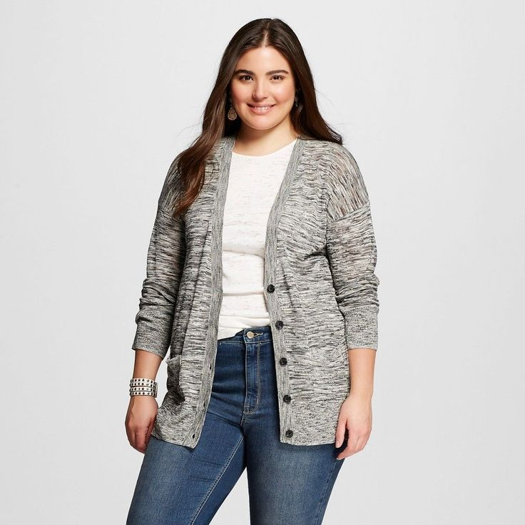 Women's Plus Size Cardigans Grey 4X - Mossimo Supply Co.