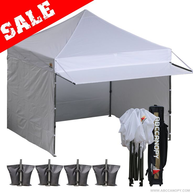 AbcCanopy 10x10 EZ Pop Up Canopy With Awnings,3Pcs Solid walls,1Pc Door wall,4 Weight Bag,1Roller bag (White)