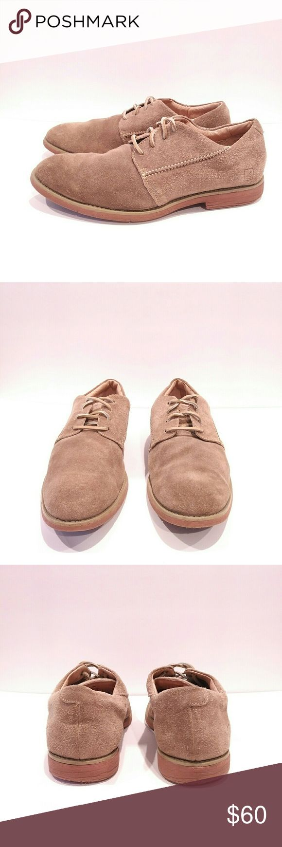 Sperry Mens size 10 tan suede mens dress shoe Sperry Mens shoes size 10 Tan suede rubber  Leather laces rubber soles Sperry Top-Sider Shoes Oxfords & Derbys