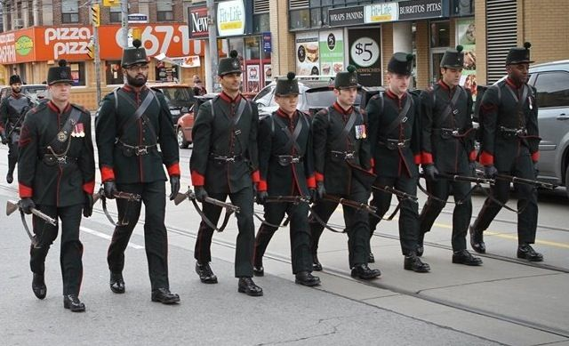 Skirmishers from The Queen's Own Rifles of Canada leading the way.