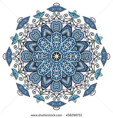 Mandala flower decoration, oriental pattern, isolated design element. Zentangle style decor for coloring book page. Vector geometric floral background. Tribal ethnic arabic, indian, turkish ornament