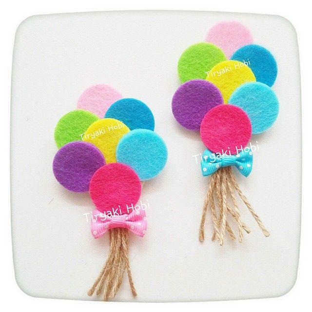 ♥ Tiryaki Hobi ♥: Keçe bebek şekeri / doğumgünü magneti - balon demeti  ------   felt balloons