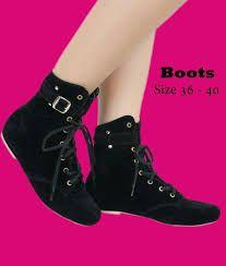 Hasil gambar untuk sepatu boots hitam wanita