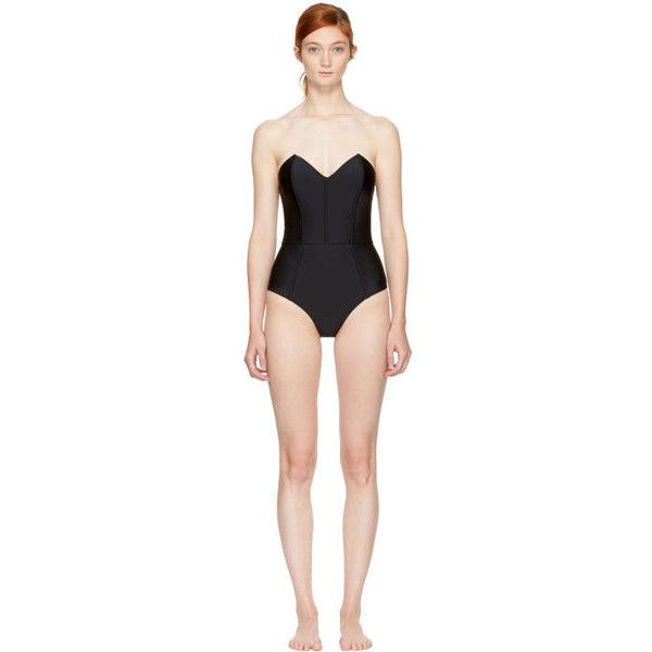 Fleur du Mal Black Strapless V-Neck Bodysuit (11,345 THB) ❤ liked on Polyvore featuring intimates, shapewear and black