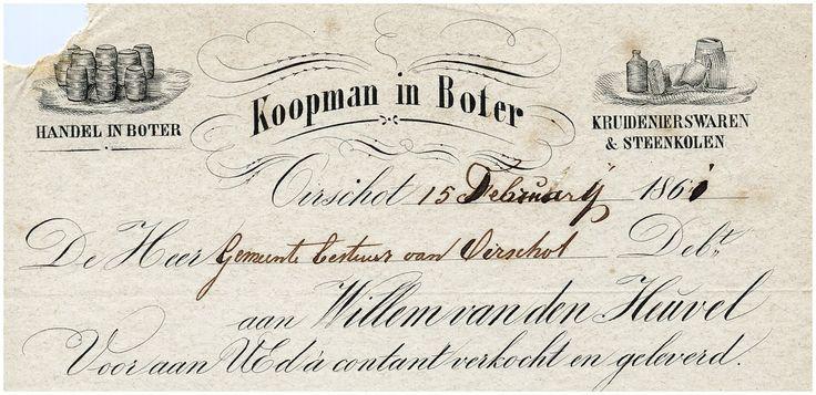 Oirschot Een briefhoofd van Willem van den Heuvel, koopman in boter. Handel in boter, kruidenierswaren en steenkolen