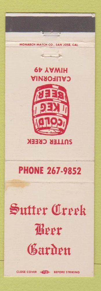Matchbook Cover - Sutter Creek Beer Garden CA WEAR