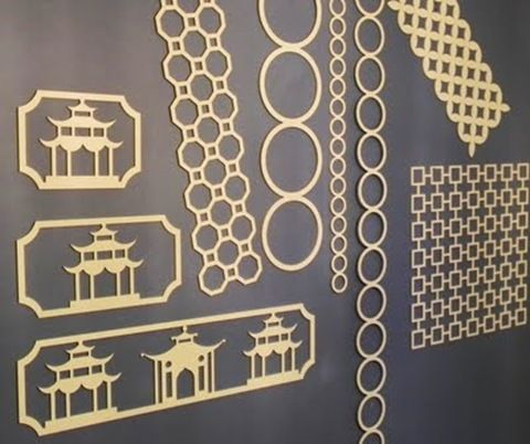 Asian-inspired fretwork panels that can be cut, painted and stuck to furniture, doors, walls, mirrors, glass, appliances. Easy DIY transformations!