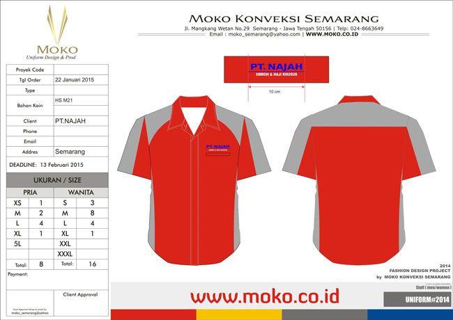 Seragam PT Najah Tour Travel - Desain 3 - Semarang, Jawa Tengah - Indonesia. Kemeja Model Baru Kombinasi Warna Merah + Abu-abu.