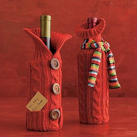 Knit wine bottle sleeve: