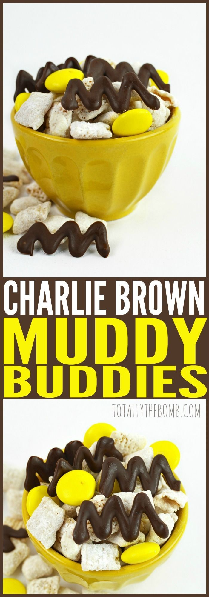 How adorable is this Charlie Brown Muddy Buddy recipe!   The perfect snack for a Peanuts movie night or themed birthday party. Even substitute the cereal for popcorn to make it extra fun :)