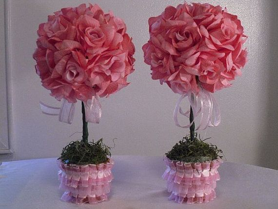 Items Similar To Pink Roses Topiary Centerpieces, Silk Flower Arrangements, Table  Flowers On Etsy